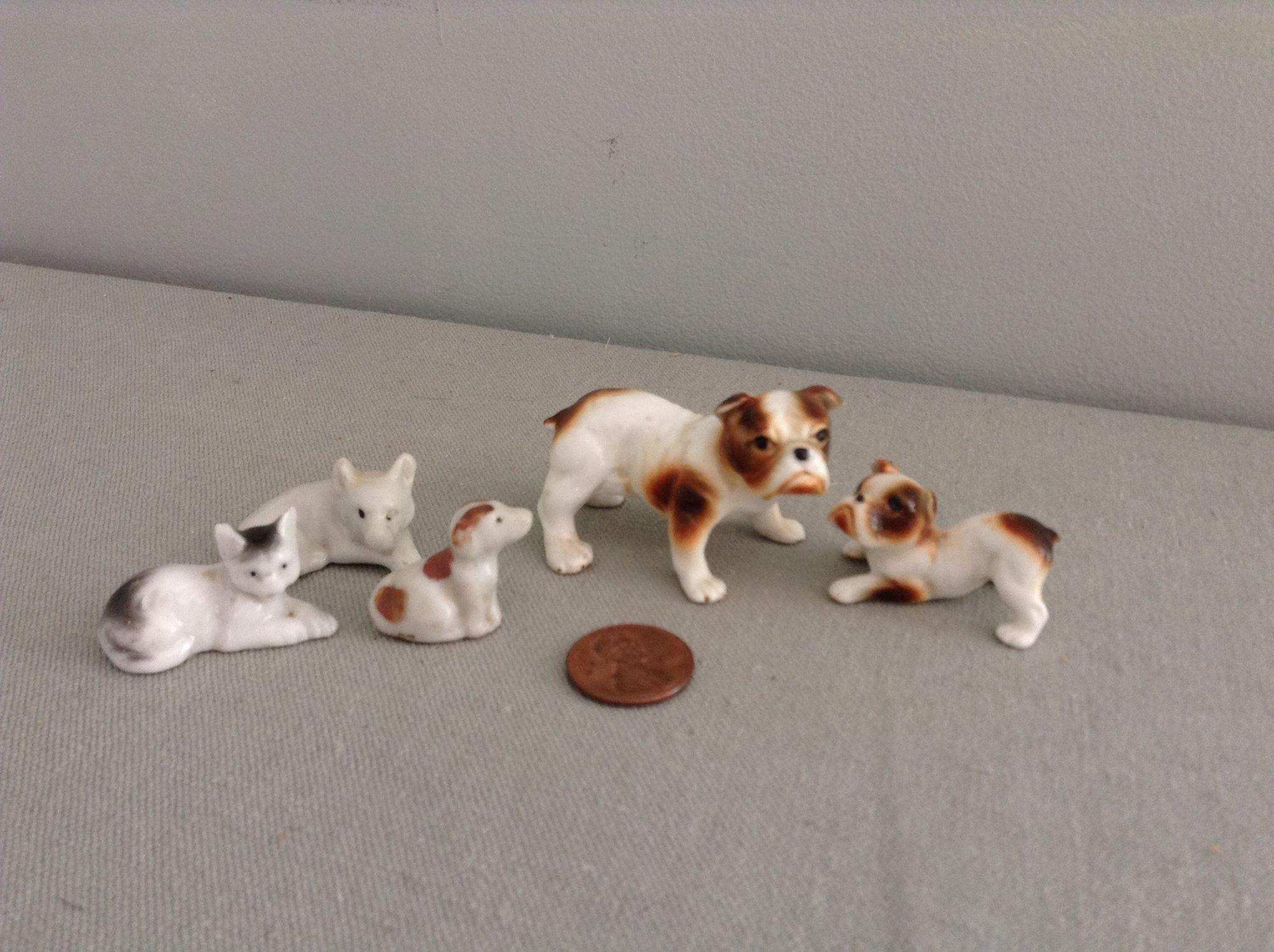 Assortment of Vintage Doll House Pets