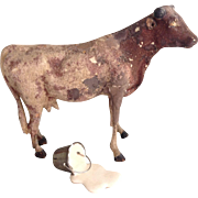 Putz Mama Cow and Spilled Milk Bucket for Stable or Barn Dweller