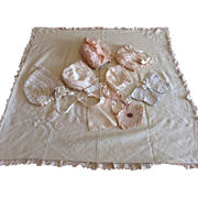 Assortment  Bonnets, Bibs, and Blanket with Lace and Embroidery