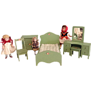 c.1930 Wisconsin Toy Co. Complete Doll House Bedroom Set