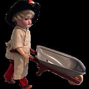 """9"""" Simon and Halbig Walker Doll, Orig. Clothes, and Wheel-barrow"""