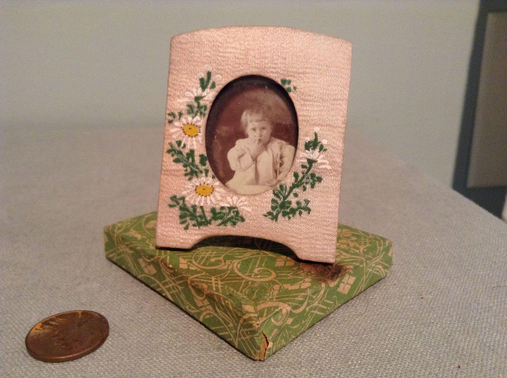 C.1920s Silk Hand Painted Miniature Frame in Orig. Box