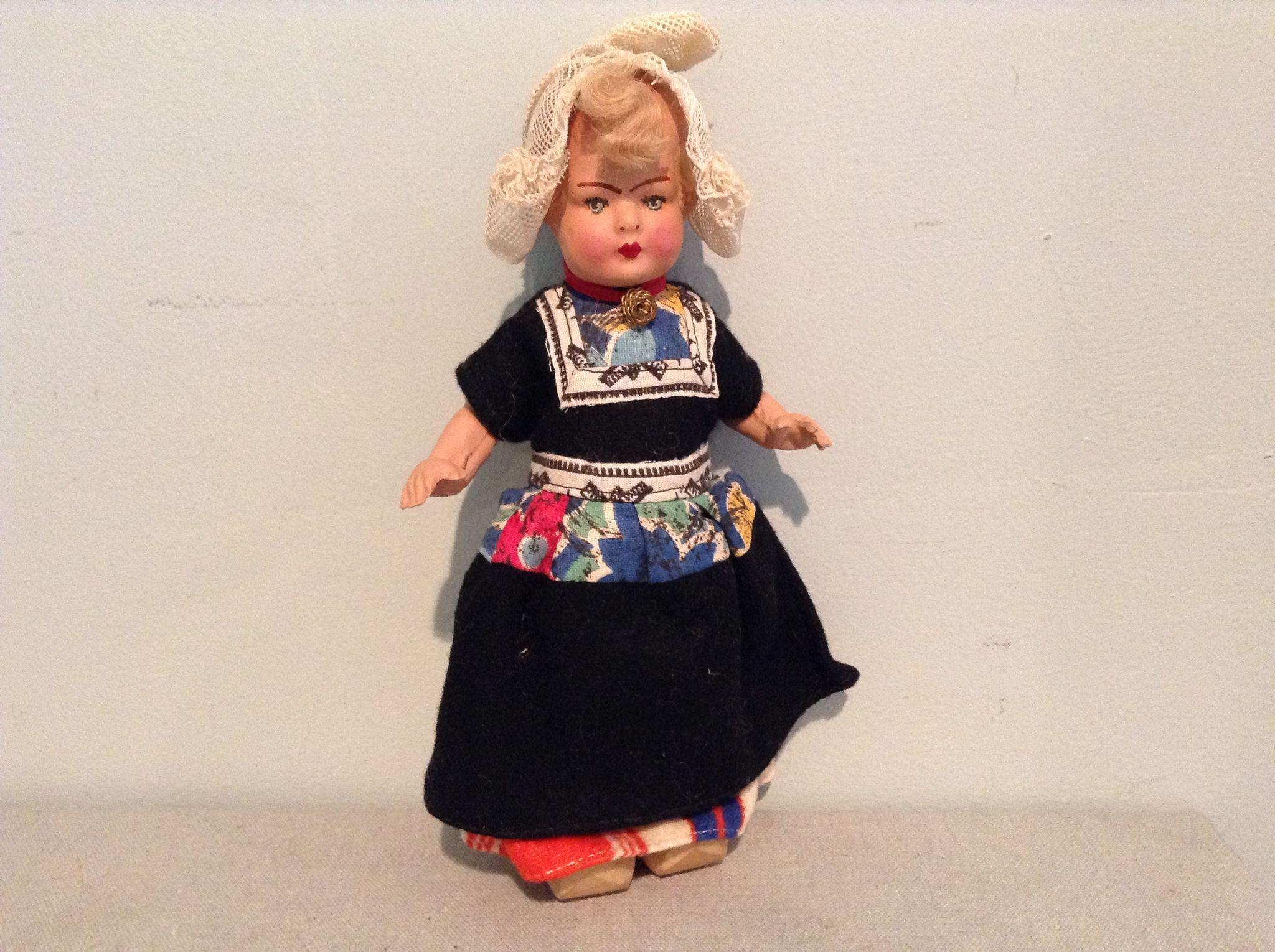 Deco Era Composition Dutch Doll in Factory Garb.