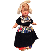 Deco Era Composition Dutch Doll in Factory Garb.