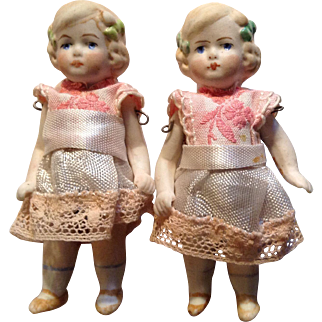 """Sweetest Tiny Pair of German All Bisque Twin Dolls-3"""" Tall"""