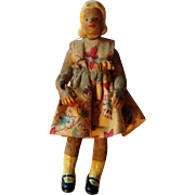 "Vintage 3-1/2"" Flagg Type of Rubber Dollhouse Doll, Original Dress"