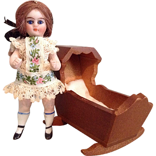 """Wee 3-1/2"""" Kling Jointed All Bisque Doll"""