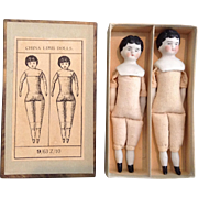 Wonderful Boxed Set of Two German China Head Doll House DOlls