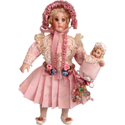 """Charming 4-1/4"""" Doll House Doll In Lovely Outfit"""