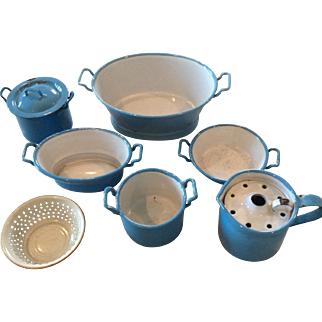 Nine Pieces of Doll Sized  Enamel Blue Cookware
