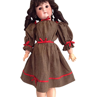 C.1890 Wool Doll Dress with Red Trim
