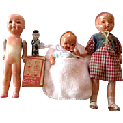 Six Piece Assortment of Painted Bisque Dolls-Japan