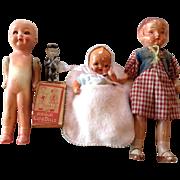 Six Piece Assortment of Painted Bisque Dolls-Japan