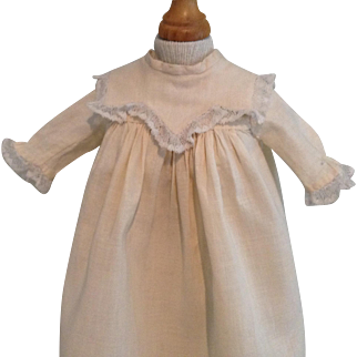 C.1900 Off White Baby or China Head Doll Dress