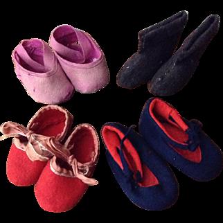 Four Pair of Vintage Lenci Type Felt Shoes