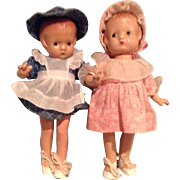 Pair of Effanbee Patsyette Dolls In Factory Clothes