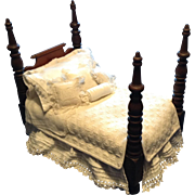 19c. Finely Crafted Doll Bed and Dressings