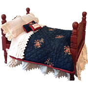 C.1900 Great Doll Bed in Old Red Paint and Dressings