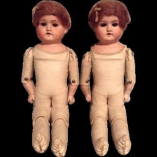 More Twins! C.1920 Pair of German Shoulder Head dolls