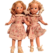 """Twin La Madelon 11"""" Dolls-Composition from the 1940s"""