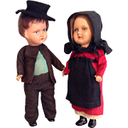 Pair of Composition German Amish Type Dolls