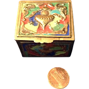 Vintage Brass and Enamel Wee Treasure Box