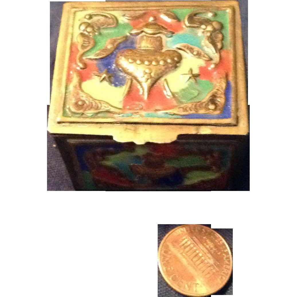 Vintage Brass and Enamel Wee Treasure Box