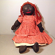 Folk Art Vintage Black Doll-All Original-17""