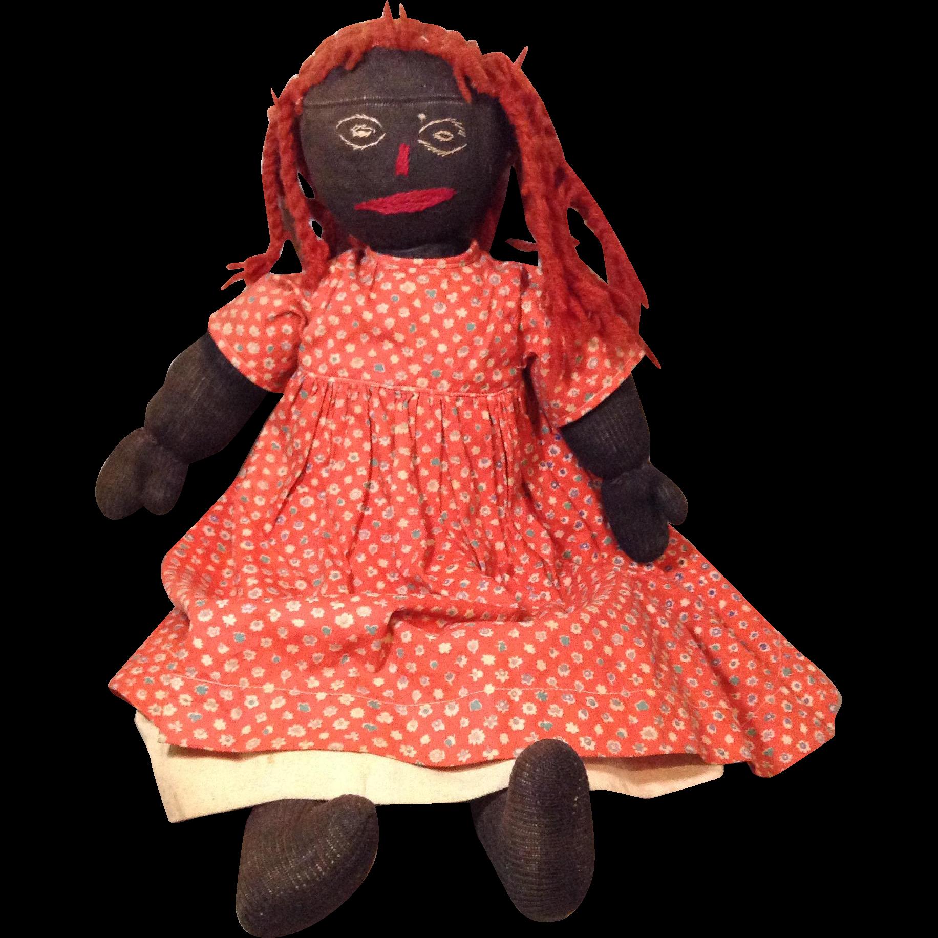 "Folk Art Vintage Black Doll-All Original-17"""