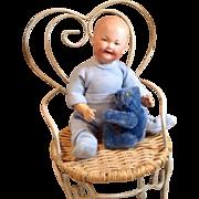 Heubach 7647 Character Baby with Steiff Mini Bear