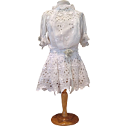 Lovely Vintage Eyelet Dropped Waist Dress with Silk Ribbon