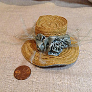 Petite Vintage Straw & Silk French Fashion Hat