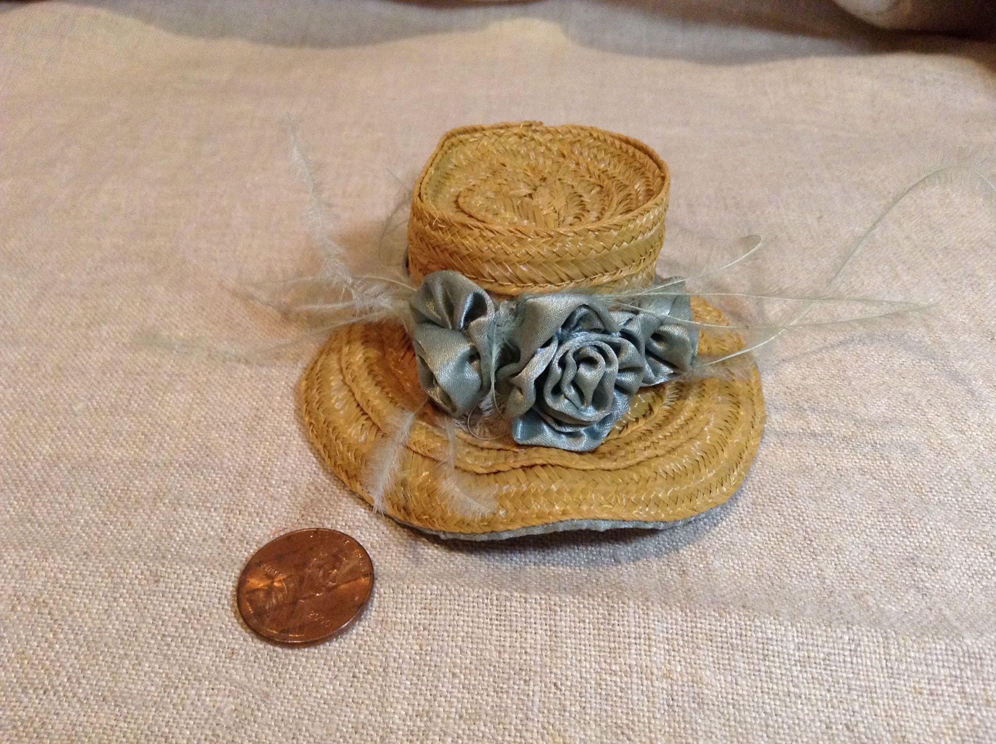 Petite Vintage Straw & Silk French Fashion Hat