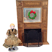 Vintage Wooden Doll House Fireplace and Accessories