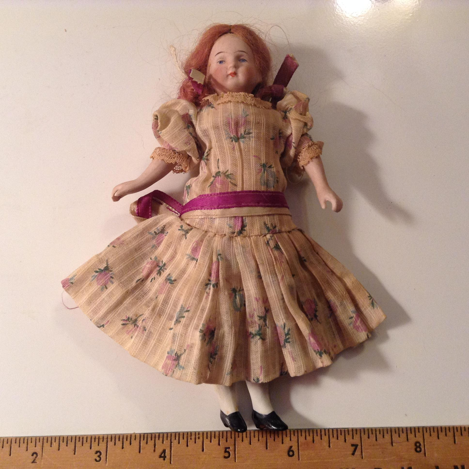 Early 20c. Large German Doll House Bisque Head Girl