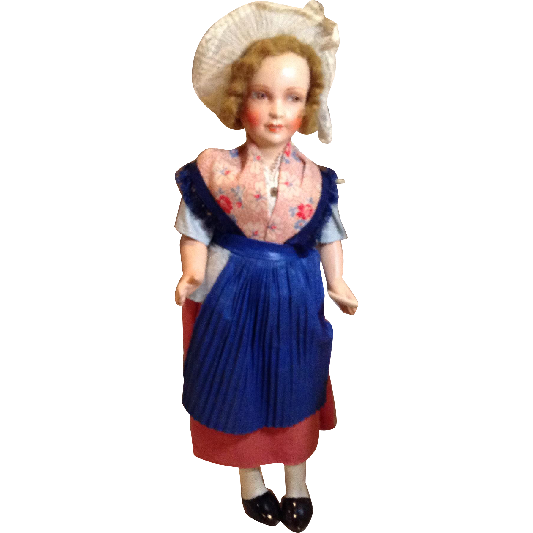 C.1920s French Painted Composition Regional Doll