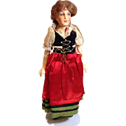 1920s Petite Boudoir Type French Doll in Regional Dress