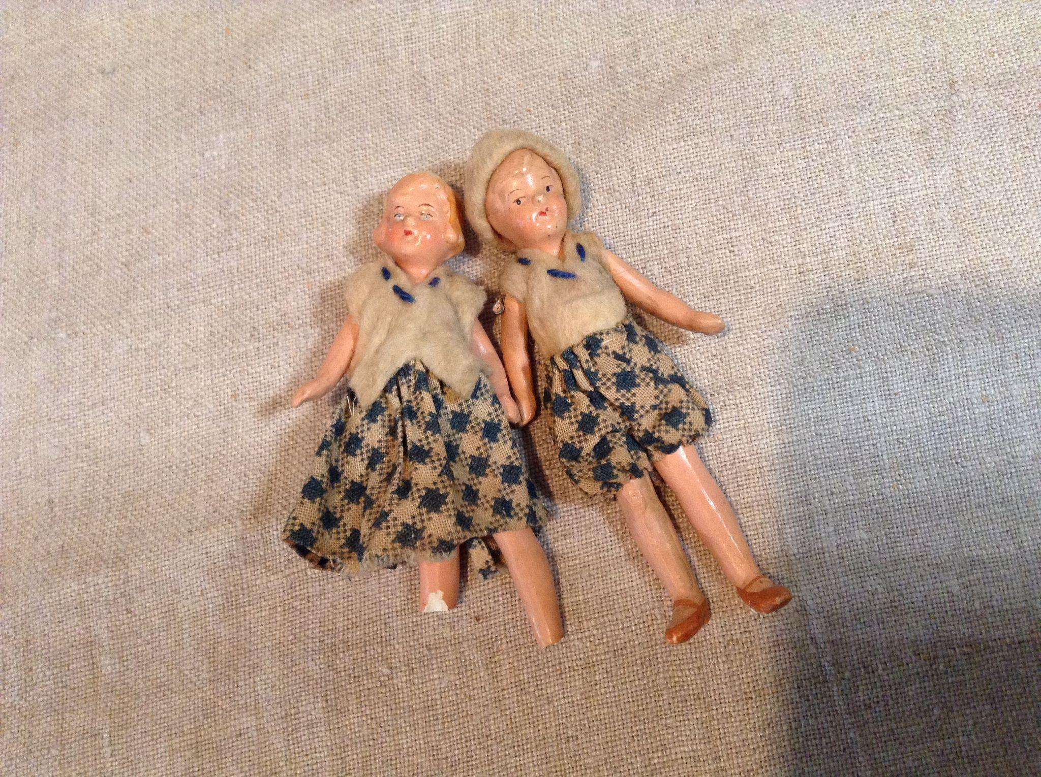 """For K.--Pair of Hertwig 3"""" Painted Bisque Doll House Dolls"""