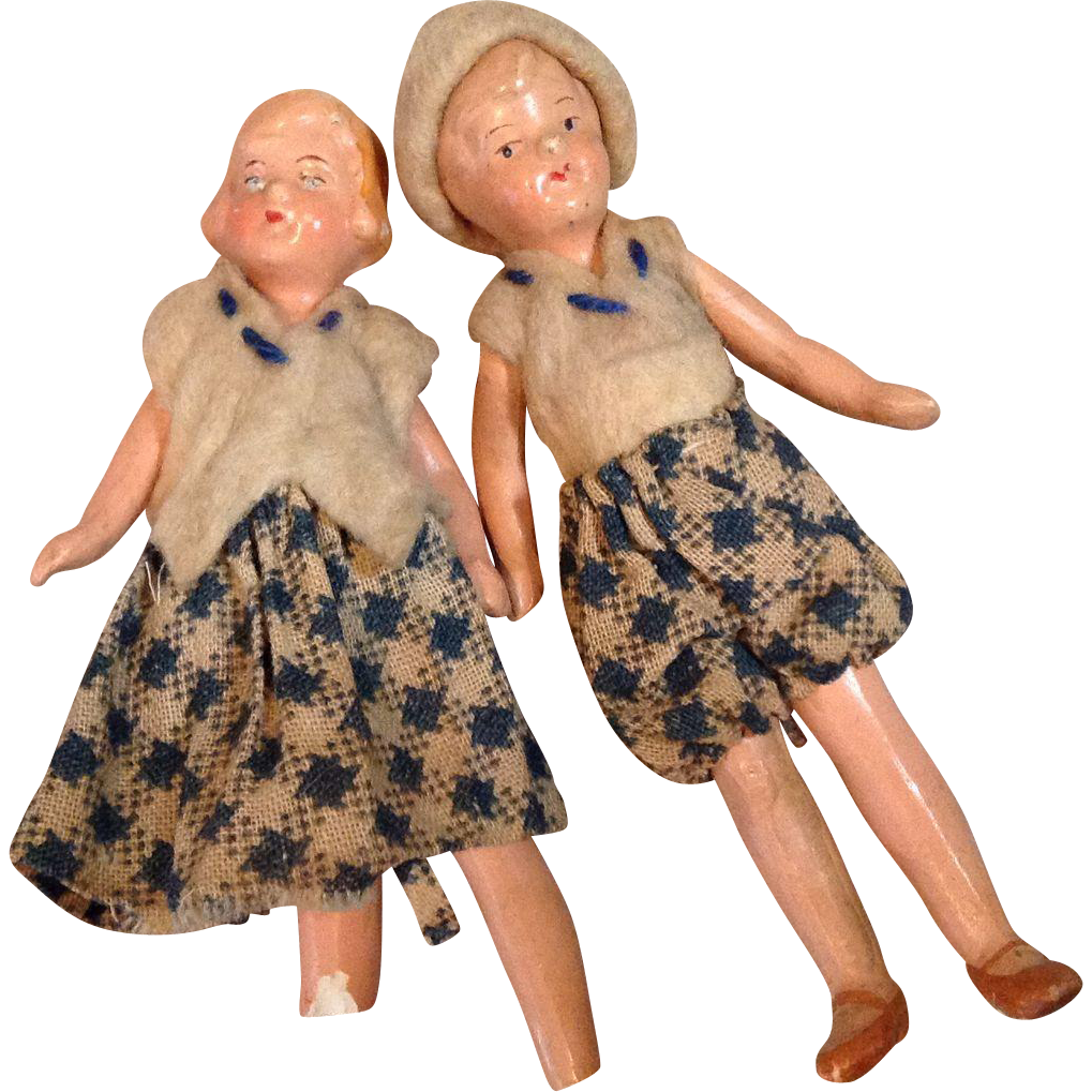 "Pair of Hertwig 3"" Painted Bisque Doll House Dolls"