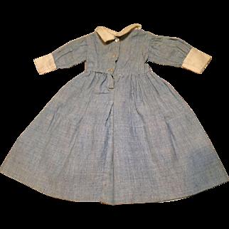 C. 1900 Hand Sewn Small Chambray Doll Dress