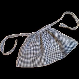C.1900 Soft Blue Homespun Doll Apron with Pocket