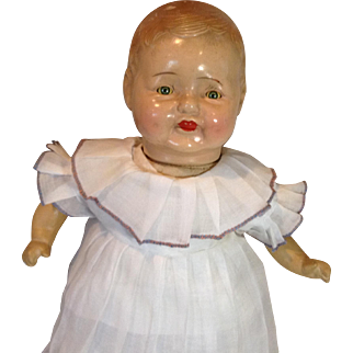 C. 1930 Composition Doll In Original  Outfit, Tin Eyes