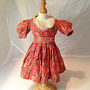 Antique Calico Print Doll Dress