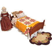 C.1900 Doll Spool Bed and Dressings for Cabinet Size Doll
