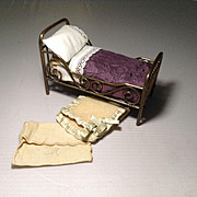 German Marklin Doll House Brass Bed and Dressings