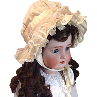 Late 19c. Silk Bonnet with Lace, Fur, Fabric Flowers