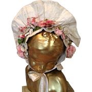 Late 19. Large Doll Silk Hat with Great Florals