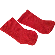 Very Nice Red Cotton Commercial Doll Socks c.1920s