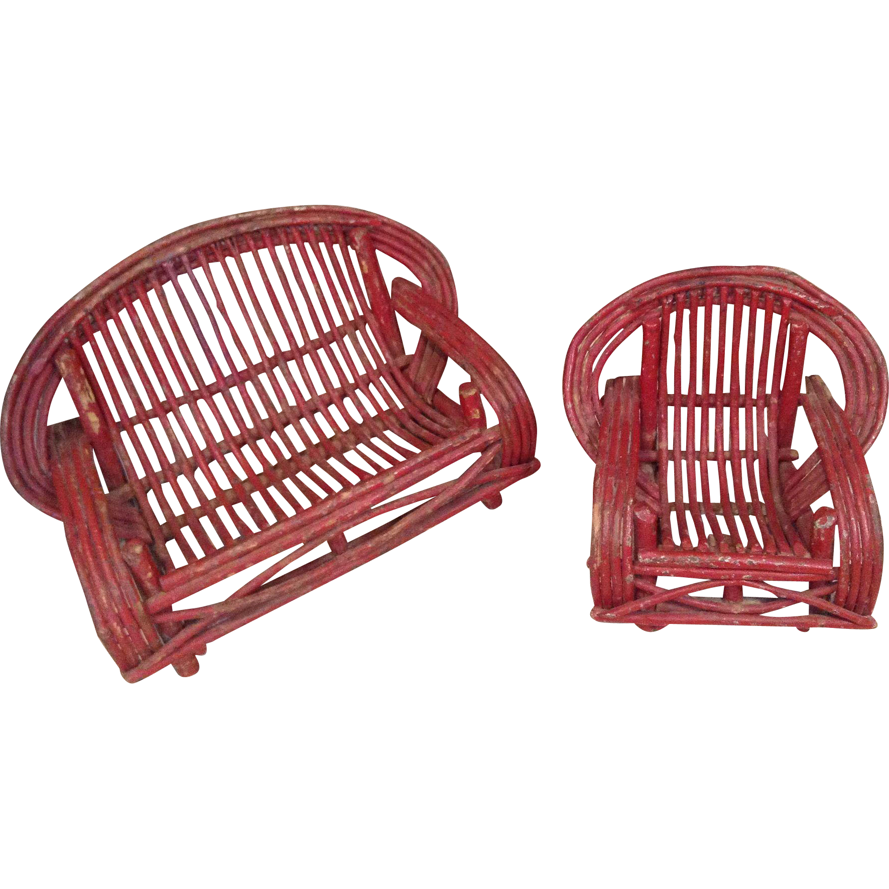 C.1920s Great Twig Doll Settee and Chair