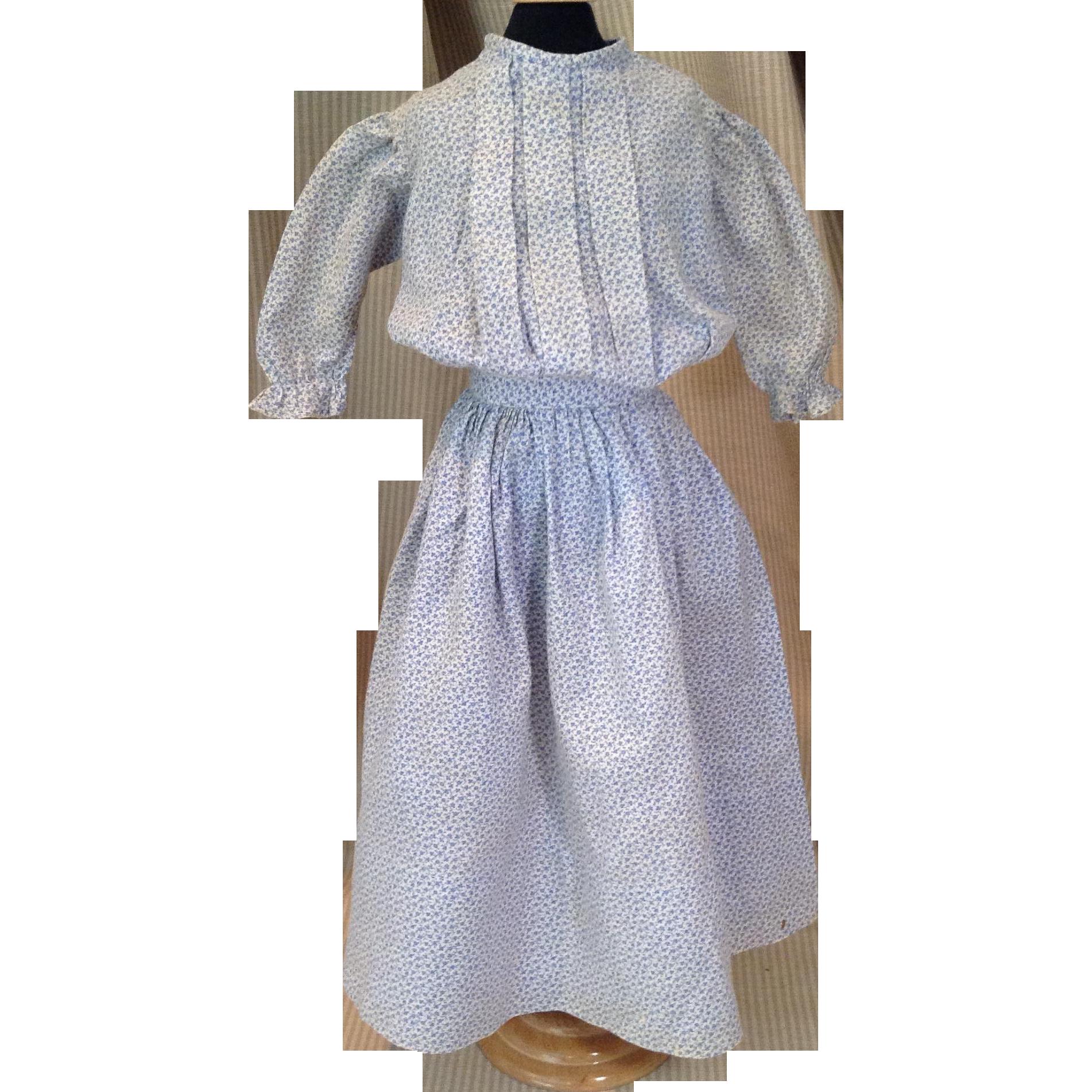C.1900 Two Piece Calico Doll Dress